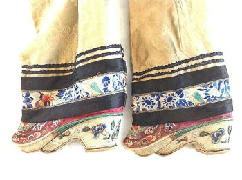 Antique Chinese embroidered silk bound foot feet lotus shoes flowers gold thread