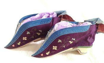 Antique Chinese embroidered silk bound foot feet lotus shoes flowers purple