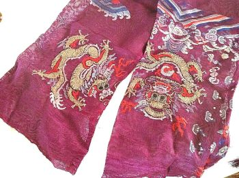 Antique Chinese Embroidered dragon textile purple cotton gauze summer sleeves