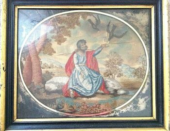 Antique Early Victorian Needlepoint & painting on silk Biblical Elijah & Ravens