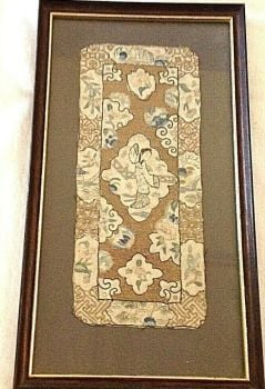 Antique Chinese embroidered Needlepoint on silk textile panel