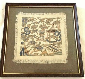 Antique Chinese embroidered Needlepoint on silk textile panel blind stitch