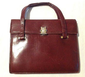 Vintage antique Art Deco soft raspberry leather purse