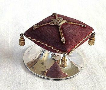 Antique hallmarked silver novelty pin cushion C1910 Coronation Cushion