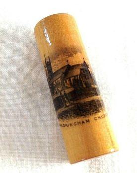 Antique mauchline ware needle case sandringham church advertising T Ordish & Co