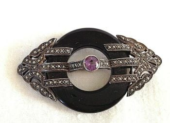 Antique Art Deco silver brooch pin Onyx Amethyst Marcasite