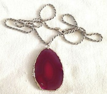 Sterling silver vintage pink crystal agate pendent necklace rope twist chain