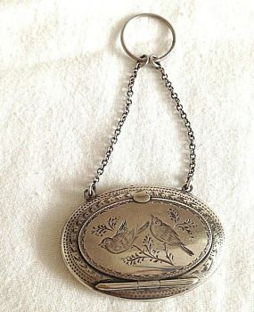 Vintage Antique sterling silver purse compact hallmarked 1920 birds and roses