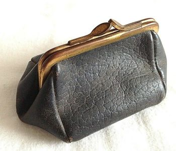 Vintage Antique leather coin purse lovely shape