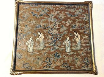 Antique Chinese embroidered silk panels textile gold thread Figures blind stitch