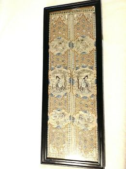 Antique Chinese embroidered silk panels textile gold thread song birds flowers