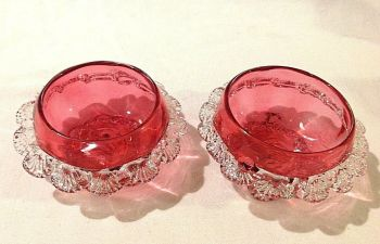Antique pair cranberry glass salts original pontil marks to base