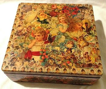 Victorian love letter keepsake box Decoupaged with antique style scraps work box
