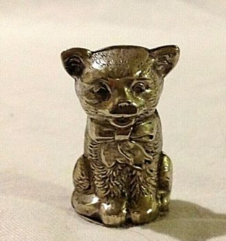 Antique silver plate novelty pin and needle cushion cat kitten original emery