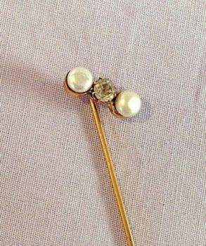 Antique Victorian or Edwardian stick pin 9ct Rose gold Pearl Diamond