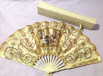 Antique Victorian or Edwardian French fan Duvelleroy box Cherubs Pink Sequins