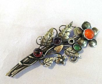 Antique silver brooch pin Flower Bouquet Arts and Crafts garnet chalcedony agate