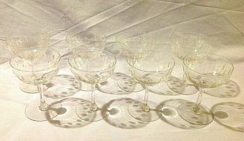 Antique set of 8 French etched champagne glasses glass ware