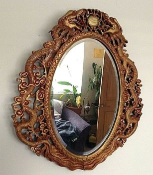 Antique original carved Chinese dragon s chasing a pearl gilded wooden mirror