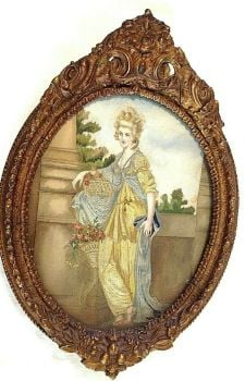 An Antique Victorian needlepoint silk embroidery embroidered picture classical