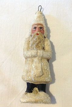 Antique Victorian German or French Christmas Santa Claus decoration glittered