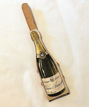 Antique French Champagne bottle advertising fan Christmas decoration crepe