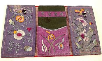 Antique Chinese embroidered purse Flowers butterflys embroidery