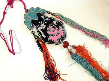 Antique Chinese embroidered decoration animals flowers tassels glass beads