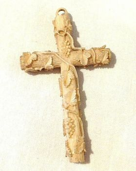 A Beautiful Antique Victorian carved Dieppe cross pendent entwined leaves and grape vine