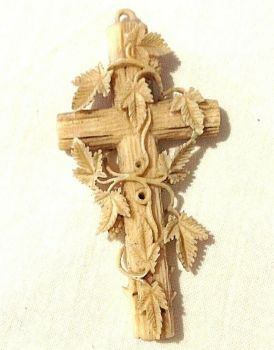 A Beautiful Antique Victorian carved Dieppe cross pendent entwined vine leaves