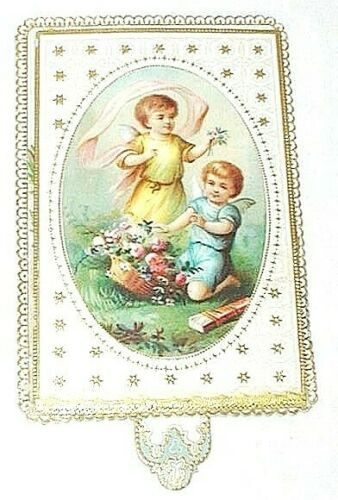 Victorian Embossed Antique Victorian Paper Lace New Years Card C1890s Pop
