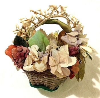 Antique small miniature wicker peddler doll basket wax silk flowers
