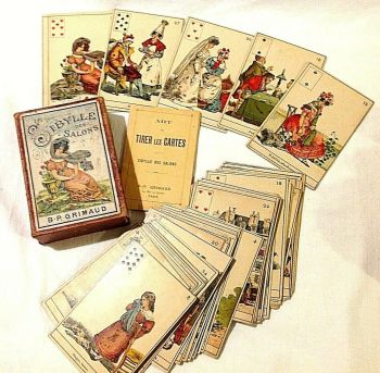 Antique French Playing picture Cards game La Sibylle des Salons B P Grimaud