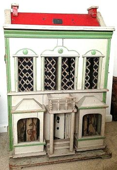 Antique wooden folk art Victorian or Edwardian doll dolls house glass windows