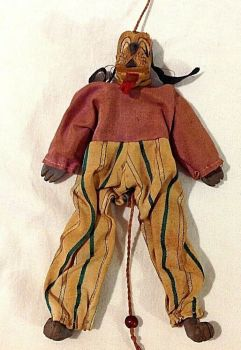 Antique Early Disney Goofy character carved wooden toy pull string articulated
