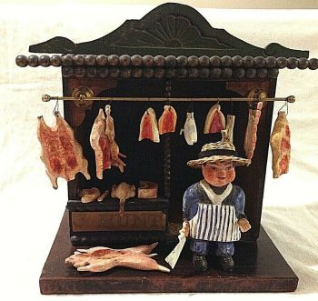 Antique Victorian butcher s shop wooden toy composition figure original and rare