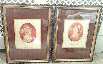 Antique Georgian prints 1783 St James Beauty St Giles Beauty Gesso Frame s