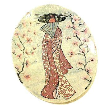Designer contemporary signed large dish Joanna Wareham Geisha girl apple blossom