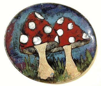 Designer contemporary signed large platter dish Charlotte Blackwell toadstools