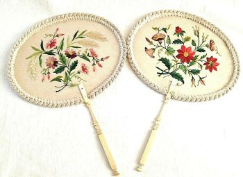 Antique Victorian embroidered face fans Flowers Floral on Gauze carved handles