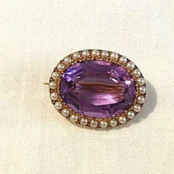 SOLD Antique 15 ct gold brooch pin seed pearls Amethyst