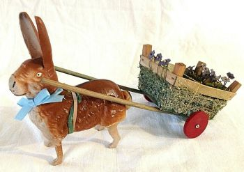 Antique rabbit Easter bunny & cart candy chocolate sweets container