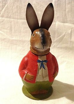 Antique Papier paper mache Easter bunny rabbit candy sweet chocolate container