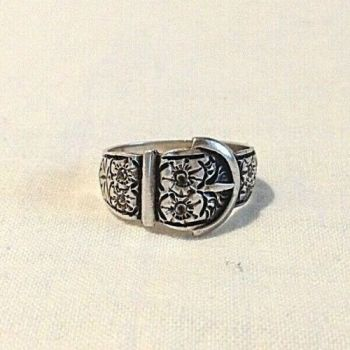Antique silver buckle ring flower decoration marked