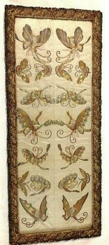 Antique Chinese embroidered embroidery sleeve panels butterfly s gold thread