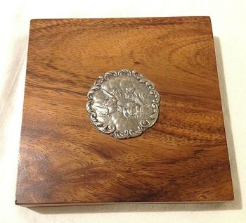 Antique or Vintage style Tangrams game silver plate cherub disk wood box 1976