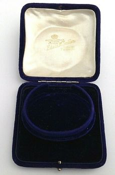 Antique blue velvet jewellery display box bracelet bangle Edwin M Seddon Yeovil