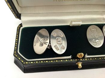 Antique or vintage style heavy silver cuff links sterling silver hallmarked