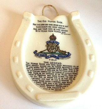 Antique crested china horse shoe Royal field artillery Goss