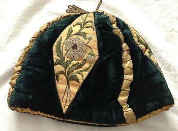 Antique Victorian tea pot cosie cosy velvet silk and floral ribbon work